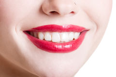 Primo piano del sorriso femminile Fotografie Stock