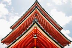 Primo piano del tempio di Kiyomizu-dera a Kyoto, Giappone fotografia stock