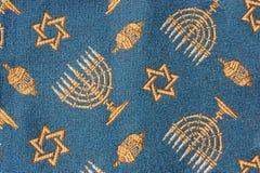 Primo piano del tessuto ebreo di Hanukkah Immagini Stock