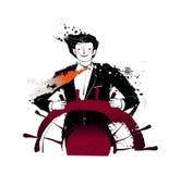 Primo piano del volante della holding dell'uomo illustrazione di stock