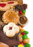 Primo piano delizioso di molti biscotti Fotografia Stock