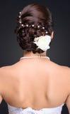Primo piano dell'acconciatura castana della sposa in studio Fotografia Stock
