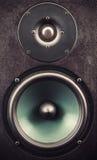 Primo piano dell'altoparlante per basse frequenze e dell'altoparlante per alte frequenze Fotografie Stock Libere da Diritti