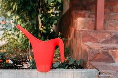 Primo piano dell'annaffiatoio rosso nel giardino fotografia stock libera da diritti
