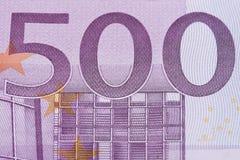 primo piano dell'euro 500 Fotografie Stock Libere da Diritti