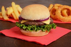 Primo piano dell'hamburger con le patate fritte e gli anelli di cipolla Immagini Stock Libere da Diritti