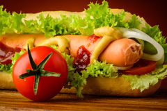 Primo piano dell'hot dog Fotografia Stock Libera da Diritti