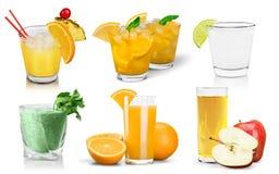Primo piano dell'insieme della bevanda di frutta fresca isolato sopra Immagine Stock Libera da Diritti