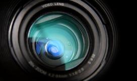 Primo piano dell'obiettivo della videocamera Fotografia Stock Libera da Diritti