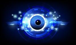 primo piano dell'occhio con il fondo blu scuro di tecnologia di tecnologia del circuito del collegamento di concetto dell'illustr illustrazione vettoriale