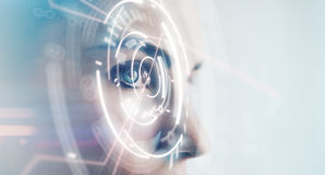 Primo piano dell'occhio della donna con gli effetti visivi, su fondo bianco orizzontale Immagini Stock
