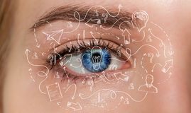 Primo piano dell'occhio della donna con la rappresentazione disegnata a mano di progetto 3D Fotografia Stock Libera da Diritti