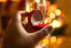 Primo piano dell'uomo che presenta proposta alla notte di Natale Fotografia Stock Libera da Diritti
