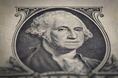 Primo piano della banconota in dollari del ritratto uno Fotografie Stock