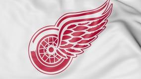Primo piano della bandiera d'ondeggiamento con il logo della squadra di hockey del NHL di Detroit Red Wings, rappresentazione 3D Immagine Stock Libera da Diritti