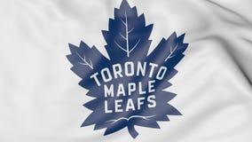 Primo piano della bandiera d'ondeggiamento con il logo della squadra di hockey del NHL di Toronto Maple Leafs, rappresentazione 3 Immagini Stock Libere da Diritti