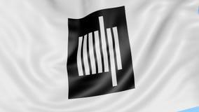 Primo piano della bandiera d'ondeggiamento con l'emblema del MIT di Massachusetts Institute of Technology, ciclo senza cuciture,  royalty illustrazione gratis
