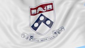 Primo piano della bandiera d'ondeggiamento con l'emblema dell'università della Pennsylvania, ciclo senza cuciture, fondo blu Anim video d archivio