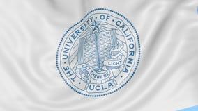 Primo piano della bandiera d'ondeggiamento con l'emblema di Los Angeles dell'università di California, ciclo senza cuciture, fond illustrazione vettoriale
