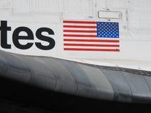 Primo piano della bandiera di sforzo della navetta spaziale Fotografie Stock Libere da Diritti