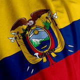 Primo piano della bandierina del Ecuadorian immagine stock