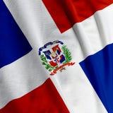 Primo piano della bandierina della Repubblica dominicana Immagini Stock