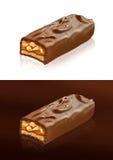 Primo piano della barra di cioccolato con il percorso di ritaglio Fotografia Stock Libera da Diritti