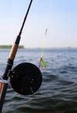 Primo piano della barretta di pesca con la mosca Fotografia Stock Libera da Diritti