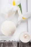 Primo piano della bomba del bagno della vaniglia fotografia stock