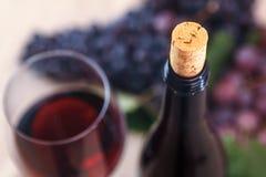 Primo piano della bottiglia e del sughero di vino Fotografia Stock