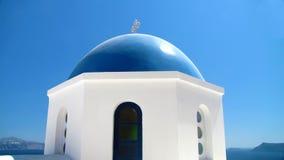 Primo piano della chiesa di Santorini Immagini Stock