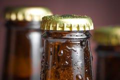 Primo piano della cima della bottiglia di birra fresca con le gocce Immagini Stock