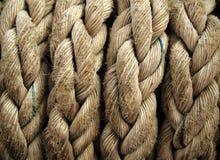Primo piano della corda di barca. Priorità bassa nautica. Fotografia Stock Libera da Diritti