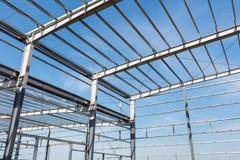Primo piano della costruzione di struttura d'acciaio Fotografie Stock