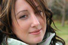 Primo piano della donna con il sorriso Fotografia Stock