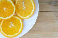 Primo piano della fetta arancio della frutta Fotografia Stock