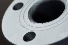 Primo piano della flangia d'acciaio fotografie stock