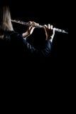 Primo piano della flauto isolato Fotografia Stock