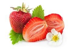 Primo piano della frutta della fragola su bianco Fotografia Stock Libera da Diritti