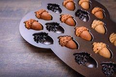 Primo piano della ghianda Cakelets, biscotti dell'acero di forma della ghianda in una teglia da forno, muffa fotografia stock libera da diritti