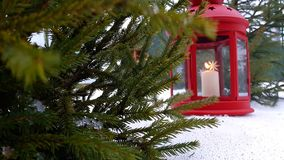 Primo piano della lanterna di Natale La lanterna rossa di Natale sta il unde sotto un abete di Natale Lanterna con la candela di  stock footage