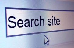Primo piano della lettura dell'elemento di Web site: Luogo di ricerca fotografia stock