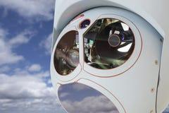 Primo piano della macchina fotografica del fuco e del modulo del baccello del sensore Fotografia Stock