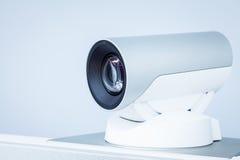 Primo piano della macchina fotografica di teleconferenza, di videoconferenza o di telepresence Fotografia Stock