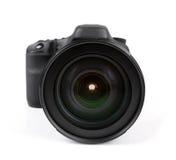 Primo piano della macchina fotografica nera della foto isolata su bianco Immagini Stock Libere da Diritti