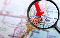 Primo piano della mappa di Miami Fotografia Stock Libera da Diritti