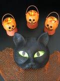 Primo piano della maschera frizzante di Halloween del gatto nero e di mini favori di partito della zucca Fotografia Stock