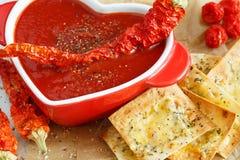 Primo piano della minestra del pomodoro con le spezie ed il peperoncino rosso immagine stock libera da diritti