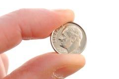 Primo piano della moneta da dieci centesimi di dollaro del Roosevelt Fotografia Stock Libera da Diritti