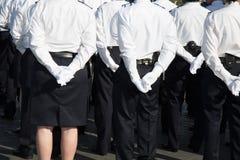 Primo piano della parata militare durante il ceremonial fotografia stock